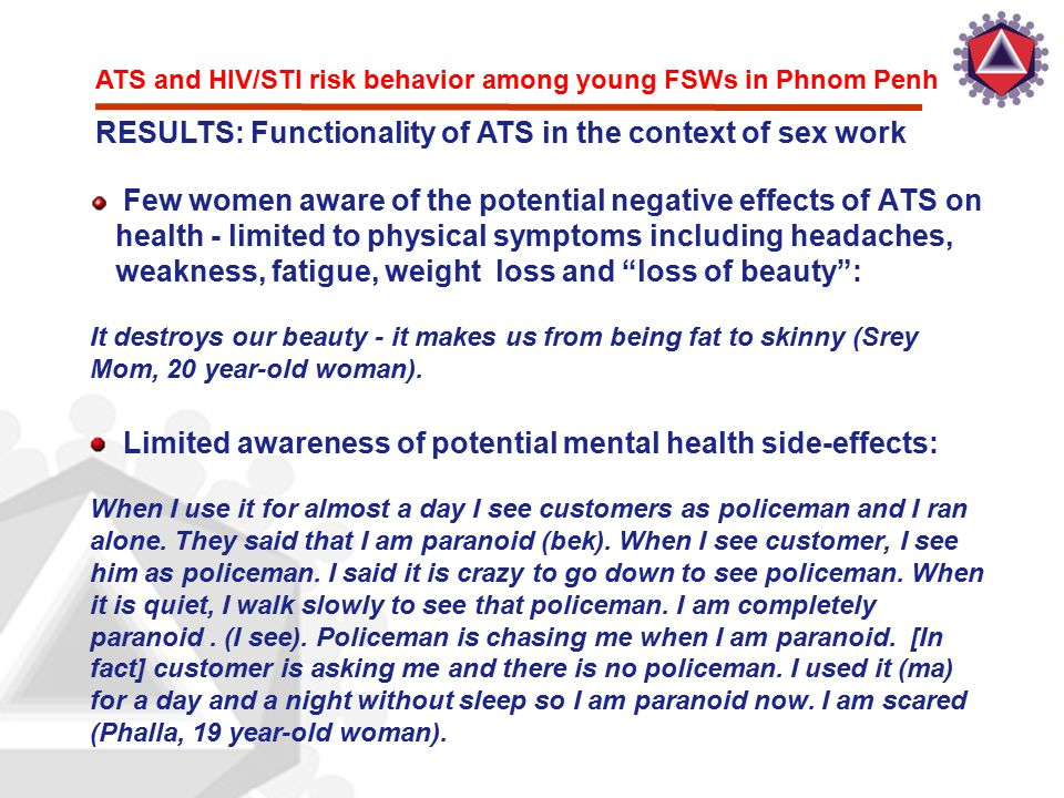 ATS and HIV/STI risk behavior among young FSWs in Phnom Penh RESULTS: Functionality of ATS in the context of sex work Few women aware of the potential