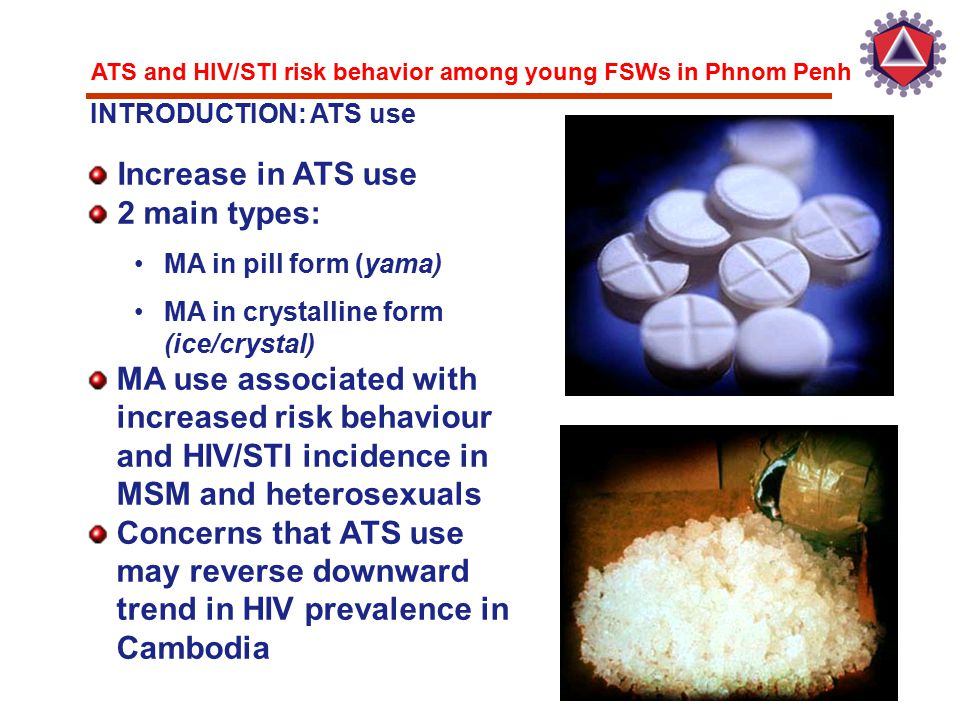 ATS and HIV/STI risk behavior among young FSWs in Phnom Penh Increase in ATS use 2 main types: MA in pill form (yama) MA in crystalline form (ice/crys