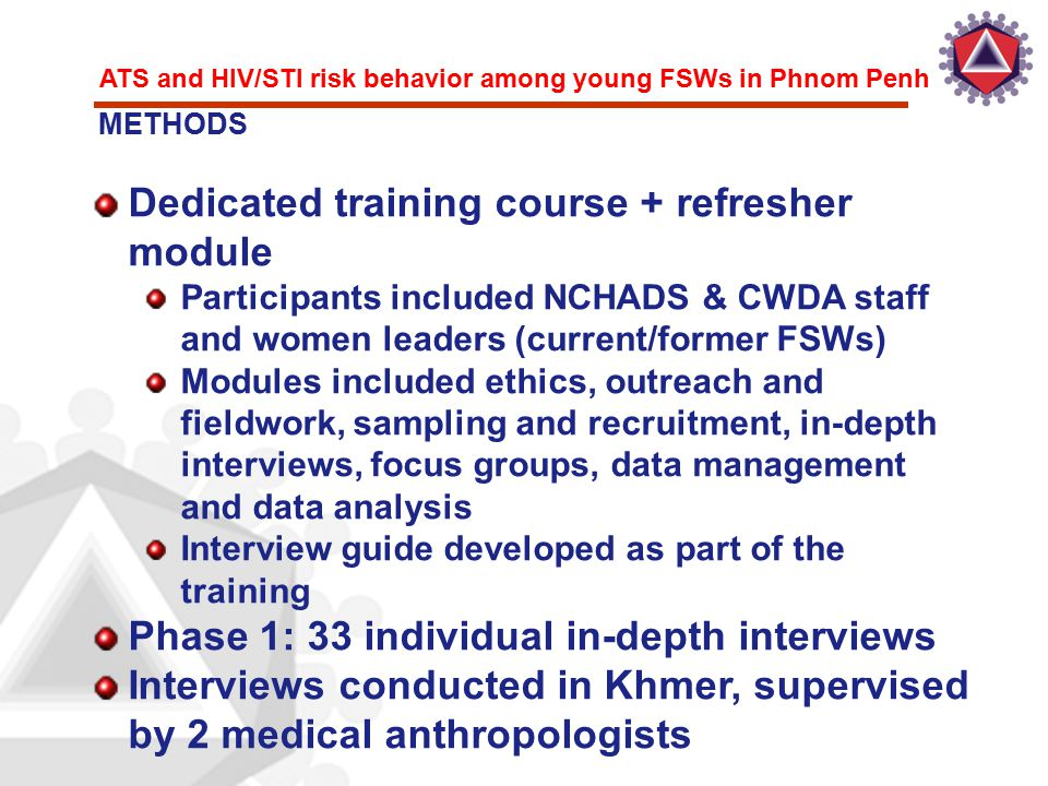 ATS and HIV/STI risk behavior among young FSWs in Phnom Penh Dedicated training course + refresher module Participants included NCHADS & CWDA staff an