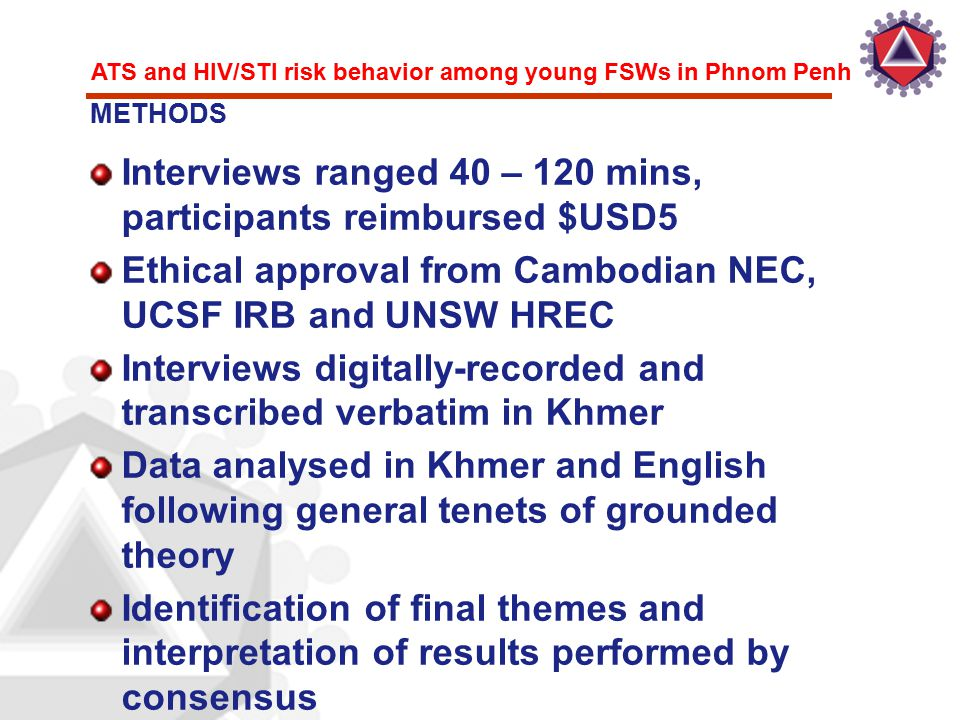 ATS and HIV/STI risk behavior among young FSWs in Phnom Penh Interviews ranged 40 – 120 mins, participants reimbursed $USD5 Ethical approval from Camb
