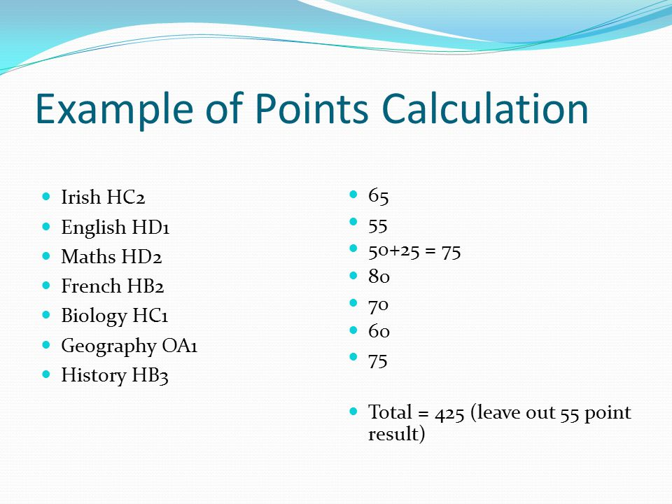 Example of Points Calculation Irish HC2 English HD1 Maths HD2 French HB2 Biology HC1 Geography OA1 History HB3 65 55 50+25 = 75 80 70 60 75 Total = 425 (leave out 55 point result)