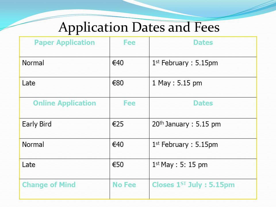 Application Dates and Fees Paper ApplicationFeeDates Normal€401 st February : 5.15pm Late€80€801 May : 5.15 pm Online ApplicationFeeDates Early Bird€2520 th January : 5.15 pm Normal€401 st February : 5.15pm Late€501 st May : 5: 15 pm Change of MindNo FeeCloses 1 ST July : 5.15pm
