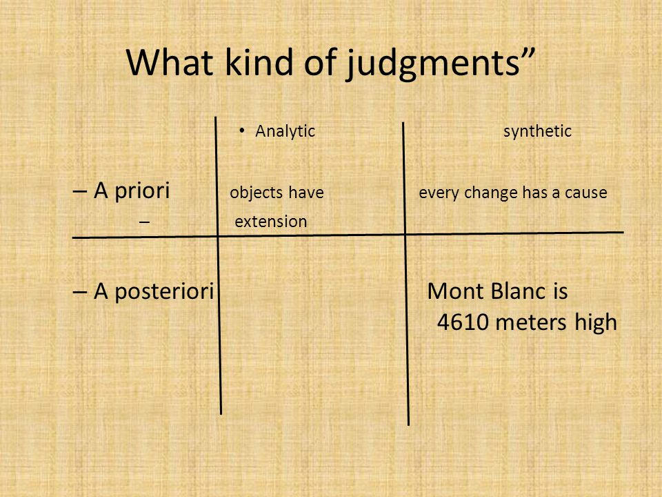 How are synthetic a priori judgments possible.