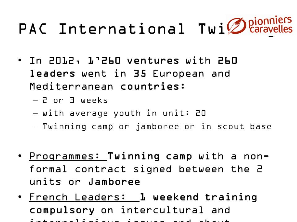PAC International Twinning In 2012, 1'260 ventures with 260 leaders went in 35 European and Mediterranean countries: –2 or 3 weeks –with average youth
