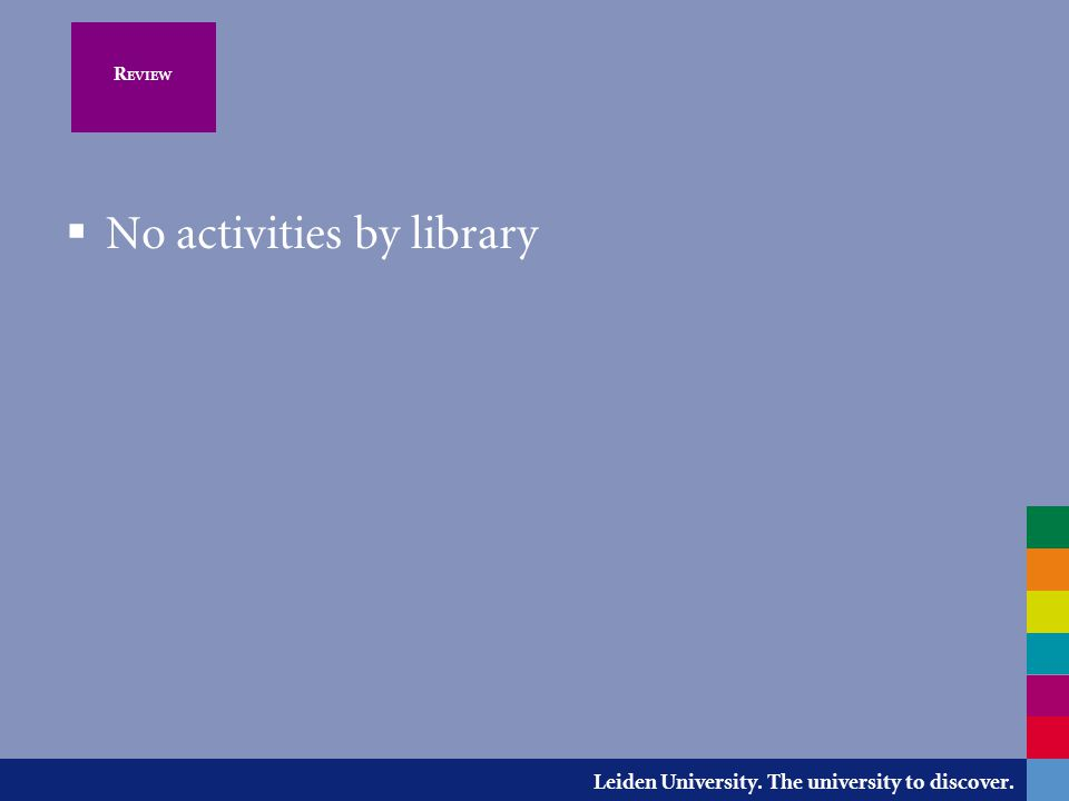Leiden University. The university to discover. R EVIEW  No activities by library