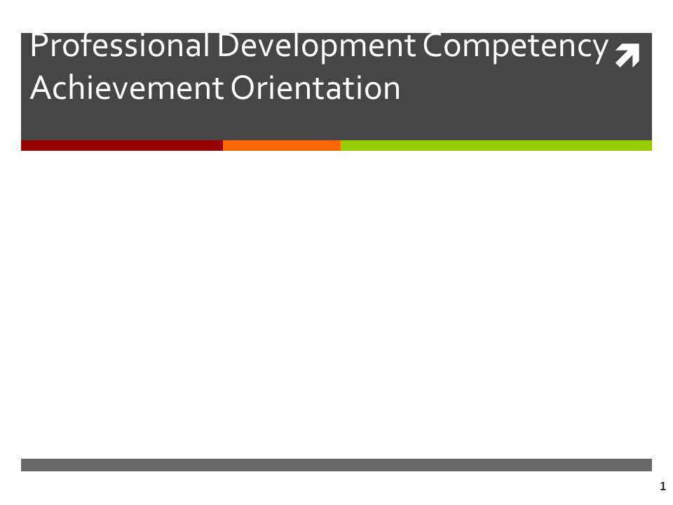  1 Professional Development Competency Achievement Orientation