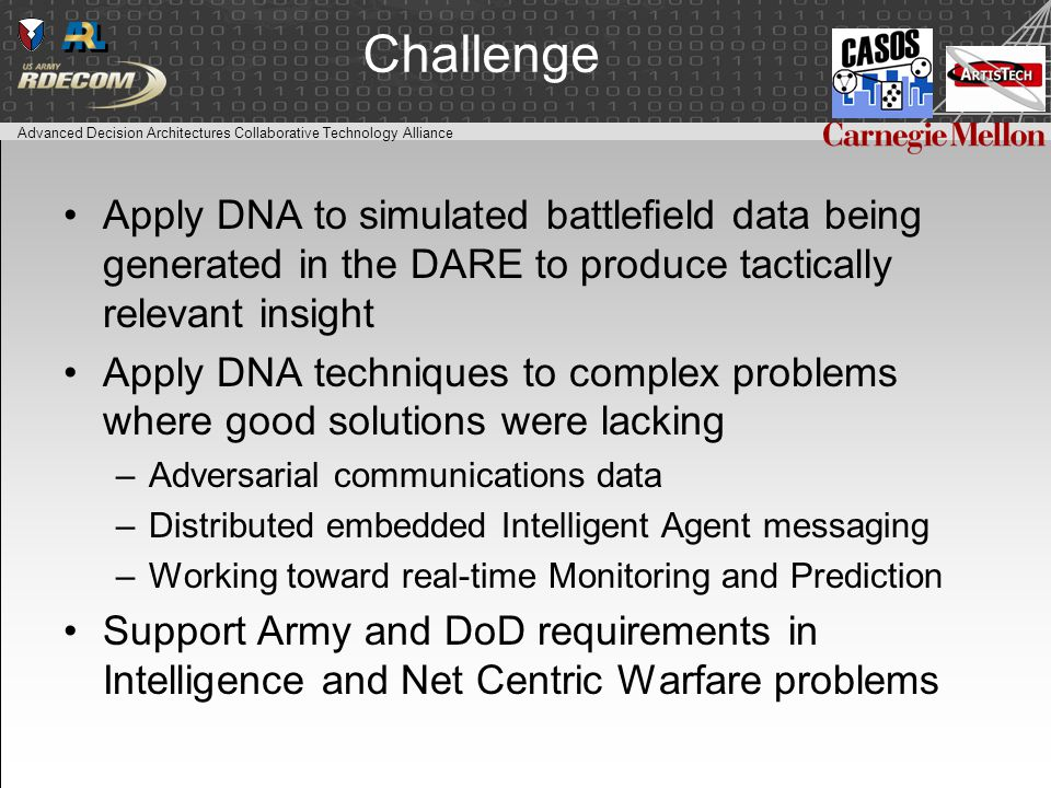 Advanced Decision Architectures Collaborative Technology Alliance Challenge Apply DNA to simulated battlefield data being generated in the DARE to produce tactically relevant insight Apply DNA techniques to complex problems where good solutions were lacking –Adversarial communications data –Distributed embedded Intelligent Agent messaging –Working toward real-time Monitoring and Prediction Support Army and DoD requirements in Intelligence and Net Centric Warfare problems