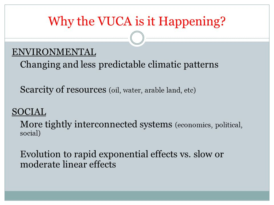 Why the VUCA is it Happening.