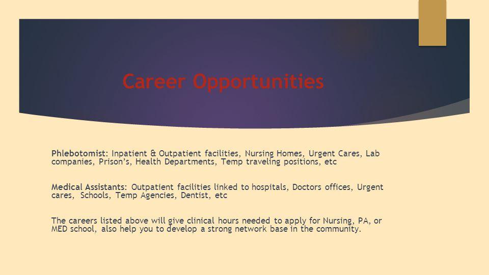 Career Opportunities Phlebotomist: Inpatient & Outpatient facilities, Nursing Homes, Urgent Cares, Lab companies, Prison's, Health Departments, Temp t