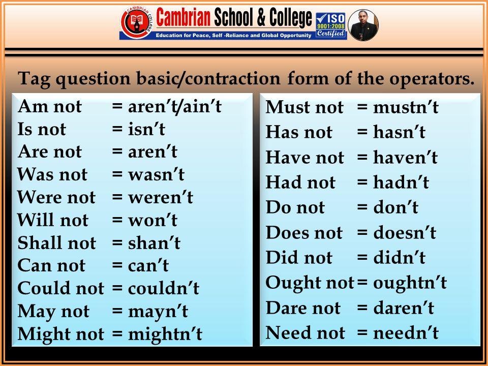 Am not = aren't/ain't Is not= isn't Are not= aren't Was not= wasn't Were not= weren't Will not= won't Shall not= shan't Can not= can't Could not= coul
