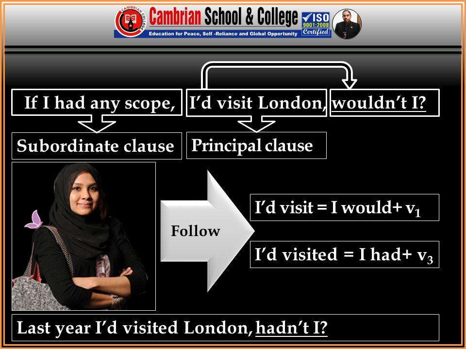 If I had any scope, I'd visit London, wouldn't I? Last year I'd visited London, hadn't I? Follow I'd visit = I would+ v 1 I'd visited = I had+ v 3 Sub