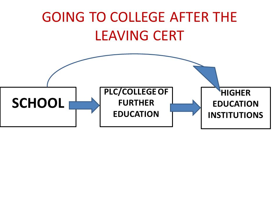 GOING TO COLLEGE AFTER THE LEAVING CERT SCHOOL PLC/COLLEGE OF FURTHER EDUCATION HIGHER EDUCATION INSTITUTIONS