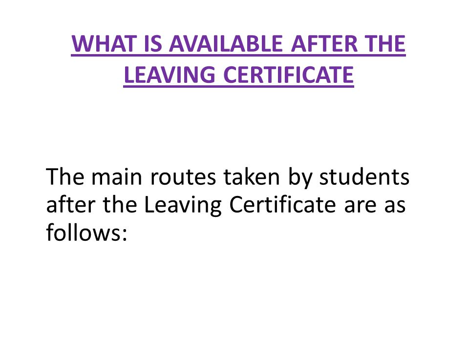 WHAT IS AVAILABLE AFTER THE LEAVING CERTIFICATE The main routes taken by students after the Leaving Certificate are as follows: