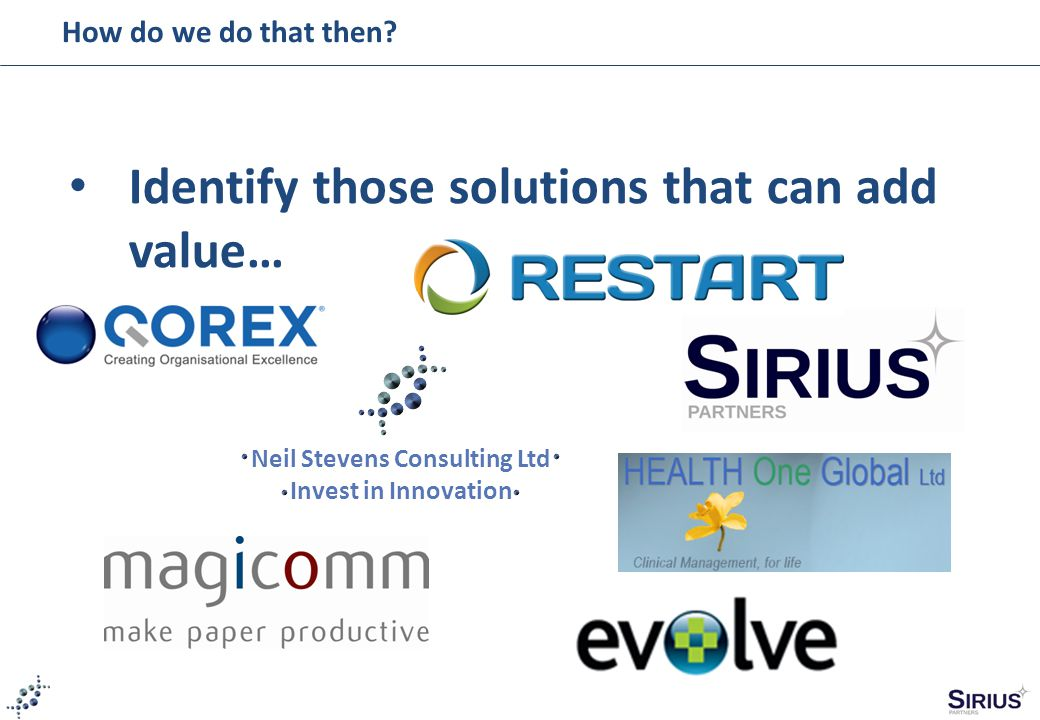 How do we do that then? Identify those solutions that can add value… Neil Stevens Consulting Ltd Invest in Innovation