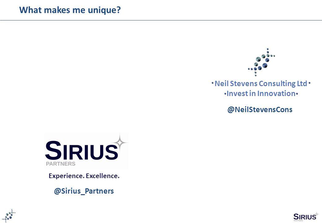 Neil Stevens Consulting Ltd Invest in Innovation Experience. Excellence. @NeilStevensCons @Sirius_Partners