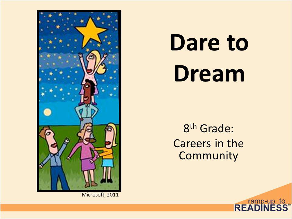 Dare to Dream 8 th Grade: Careers in the Community Microsoft, 2011