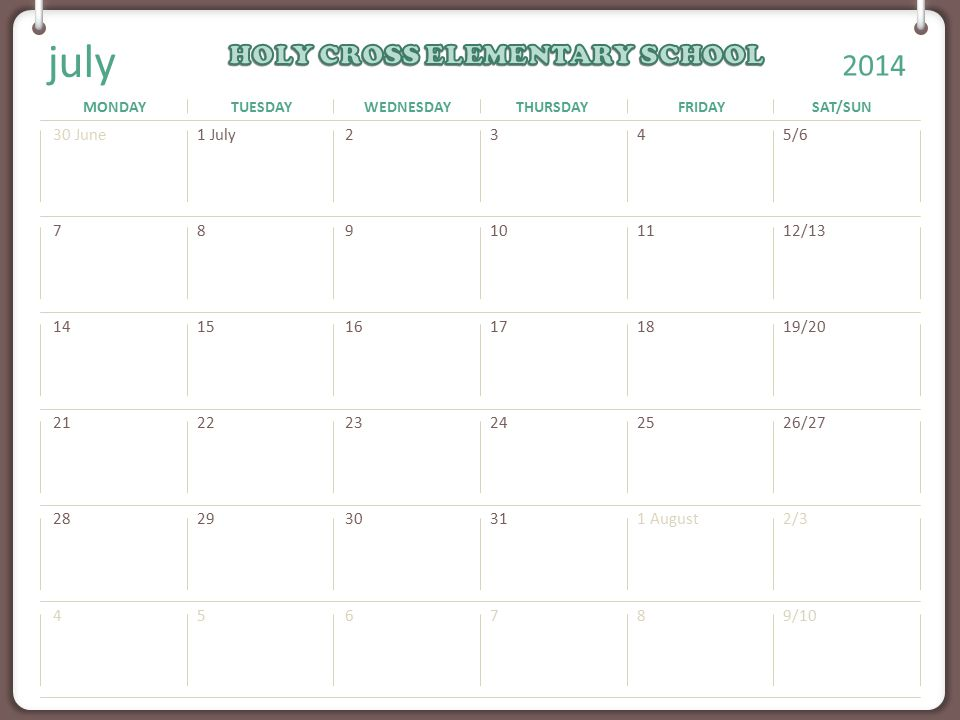 MONDAYTUESDAYWEDNESDAYTHURSDAYFRIDAYSAT/SUN Note: You can print this template to use as a wall calendar. You can also copy the slide for any month to