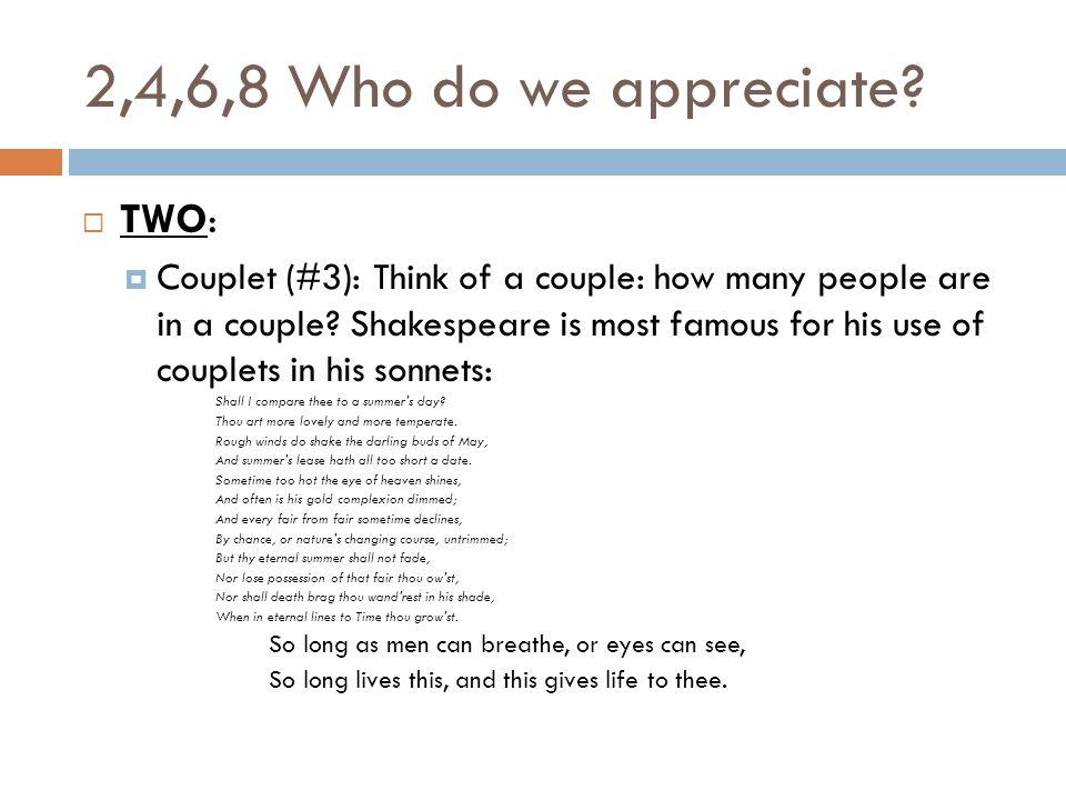 2,4,6,8 Who do we appreciate.