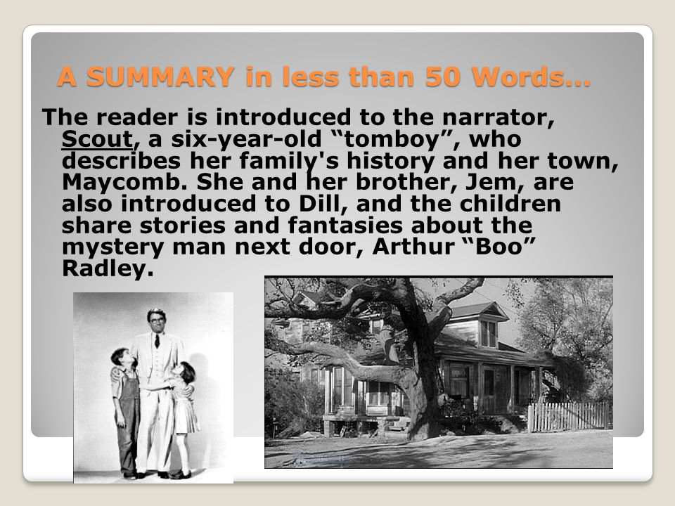 """A SUMMARY in less than 50 Words… The reader is introduced to the narrator, Scout, a six-year-old """"tomboy"""", who describes her family's history and her"""