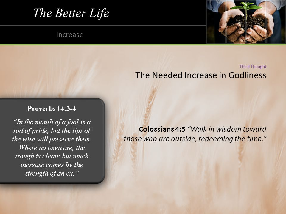 The Better Life Increase Third Thought The Needed Increase in Godliness Colossians 4:5 Walk in wisdom toward those who are outside, redeeming the time. Proverbs 14:3-4 In the mouth of a fool is a rod of pride, but the lips of the wise will preserve them.