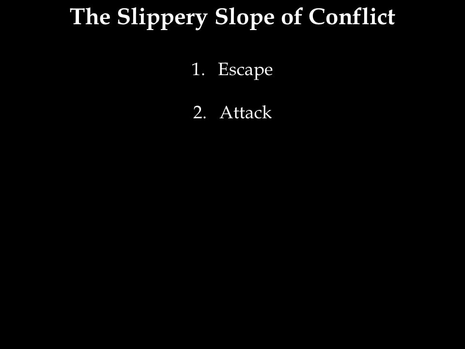 The Slippery Slope of Conflict 1.Escape 2.Attack