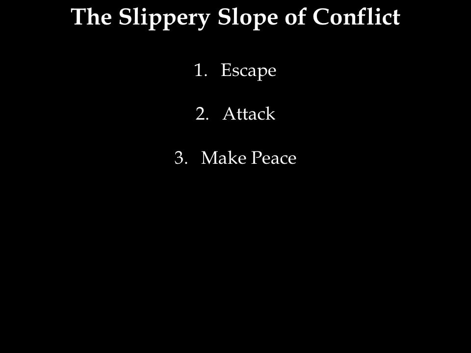 The Slippery Slope of Conflict 1.Escape 2.Attack 3.Make Peace