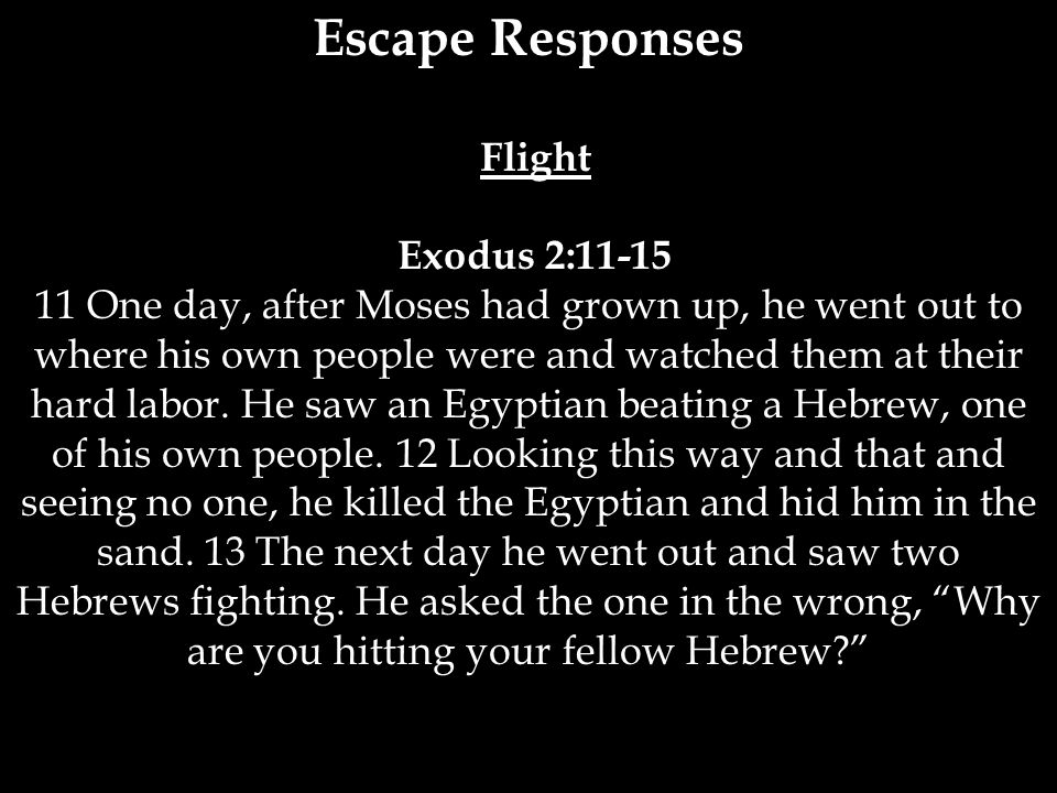 Escape Responses Flight Exodus 2:11-15 11 One day, after Moses had grown up, he went out to where his own people were and watched them at their hard l