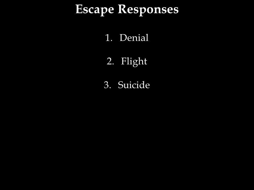 Escape Responses 1.Denial 2.Flight 3.Suicide