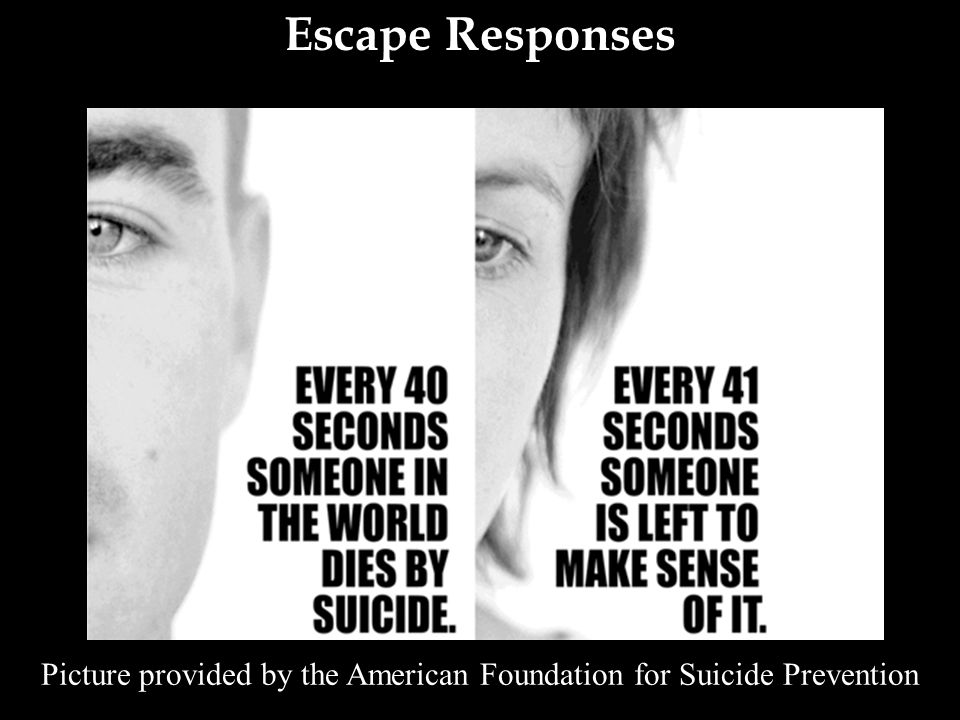 Escape Responses Picture provided by the American Foundation for Suicide Prevention