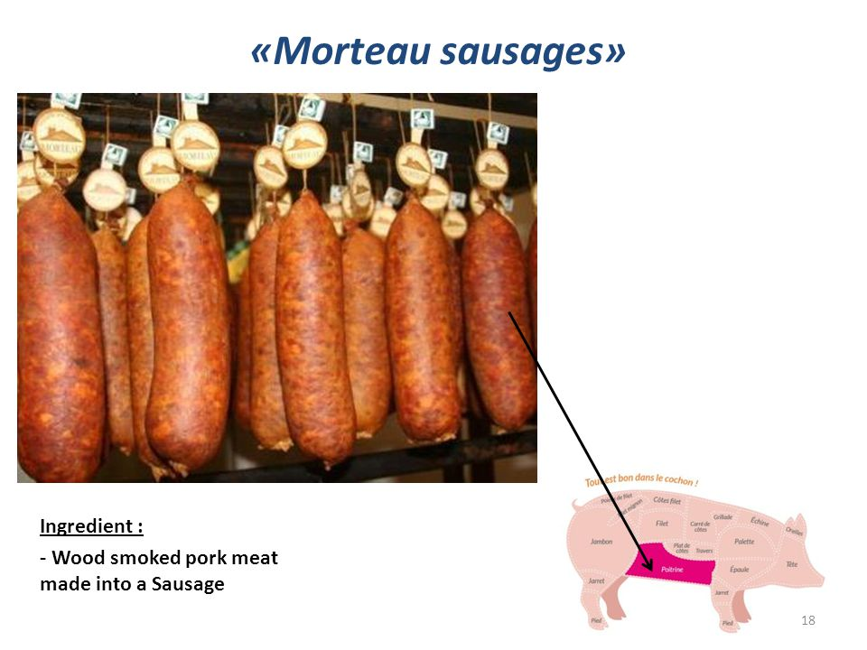 Ingredient : - Wood smoked pork meat made into a Sausage «Morteau sausages» 18