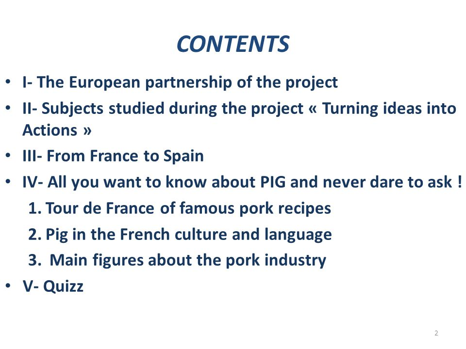 CONTENTS I- The European partnership of the project II- Subjects studied during the project « Turning ideas into Actions » III- From France to Spain I