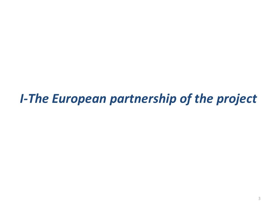 I-The European partnership of the project 3