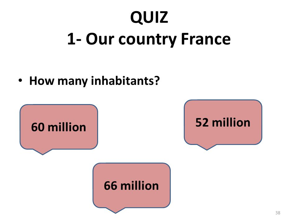 QUIZ 1- Our country France How many inhabitants? 60 million 52 million 66 million 38