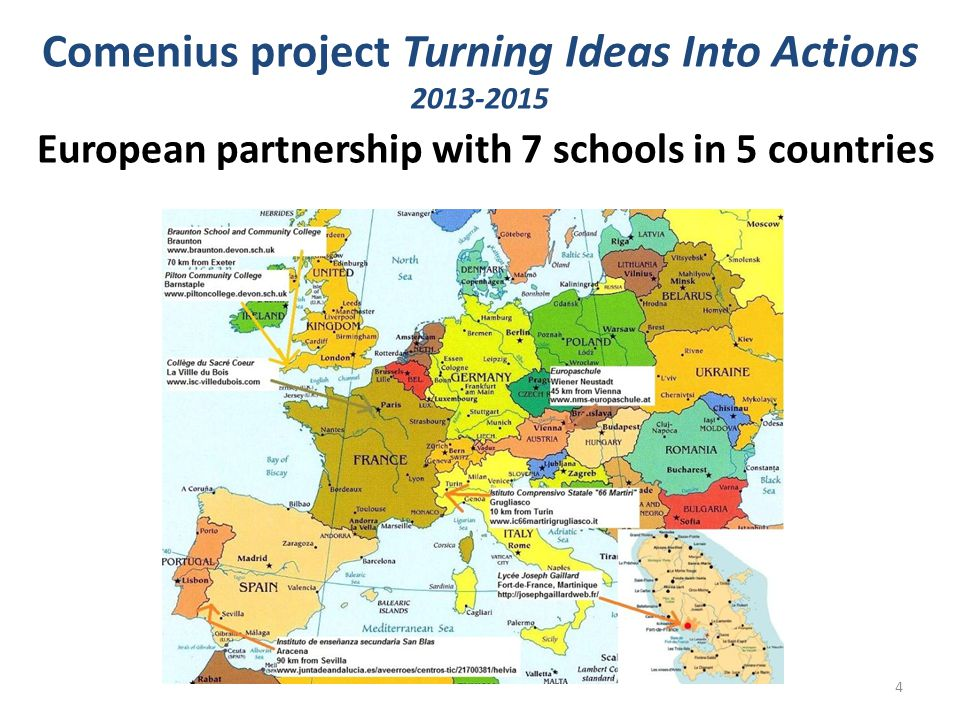 Comenius project Turning Ideas Into Actions 2013-2015 European partnership with 7 schools in 5 countries 4