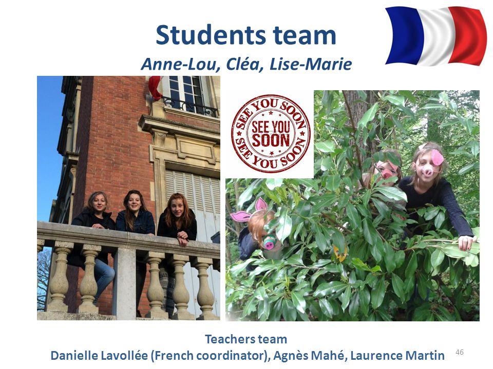 Students team Anne-Lou, Cléa, Lise-Marie Teachers team Danielle Lavollée (French coordinator), Agnès Mahé, Laurence Martin 46