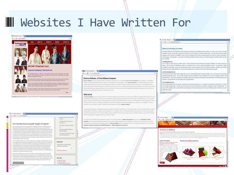 Websites I Have Written For