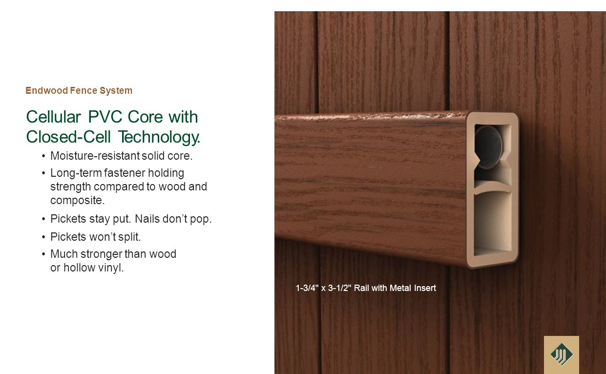 Cellular PVC Core with Closed-Cell Technology. Moisture-resistant solid core.