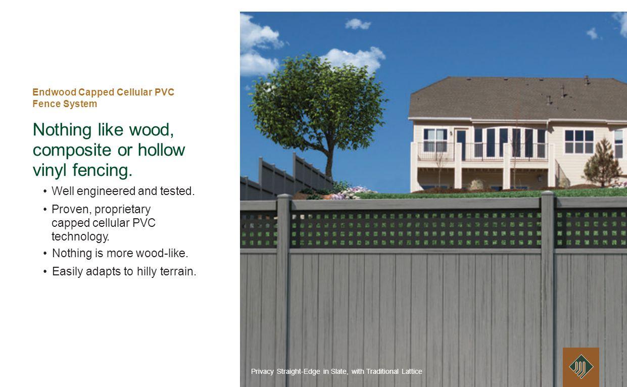 Endwood Capped Cellular PVC Fence System Ultra low maintenance.