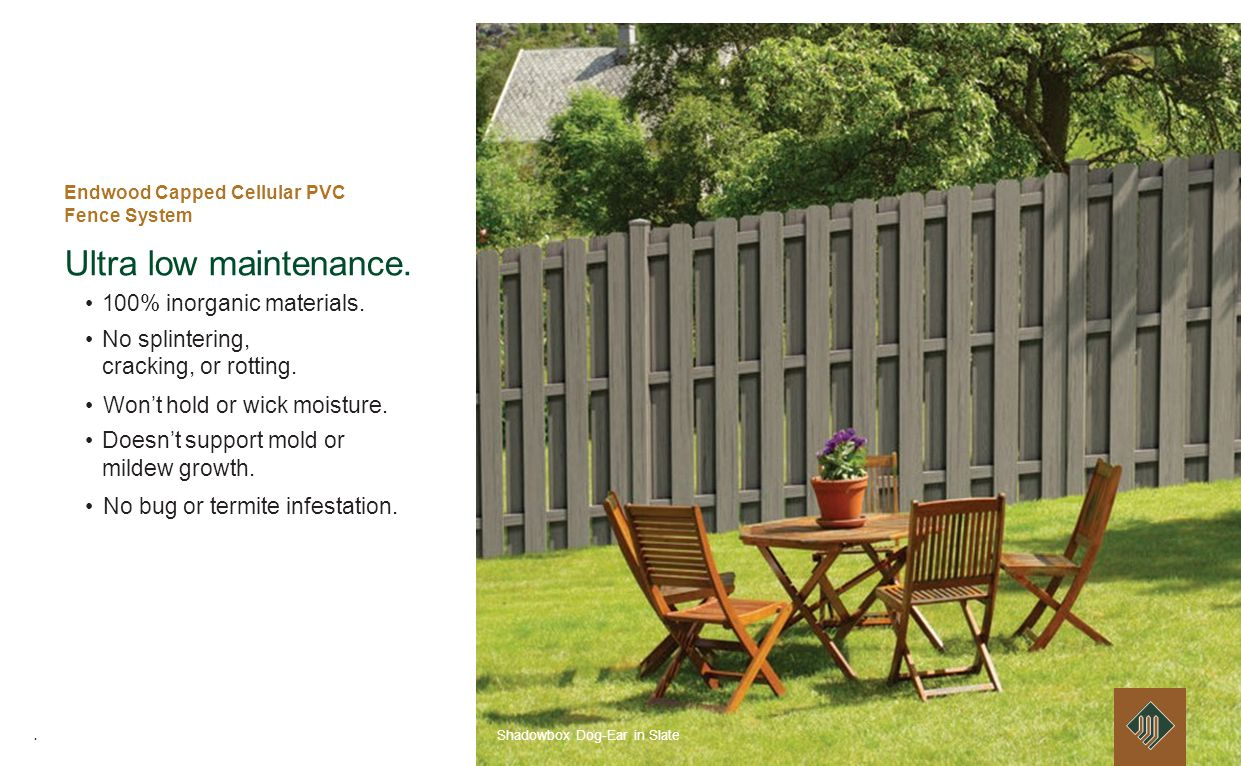 Endwood Capped Cellular PVC Fence System Ultra low maintenance.