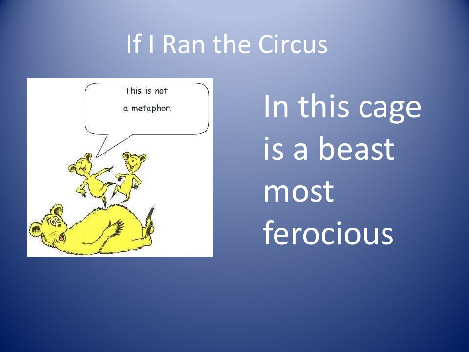 If I Ran the Circus In this cage is a beast most ferocious