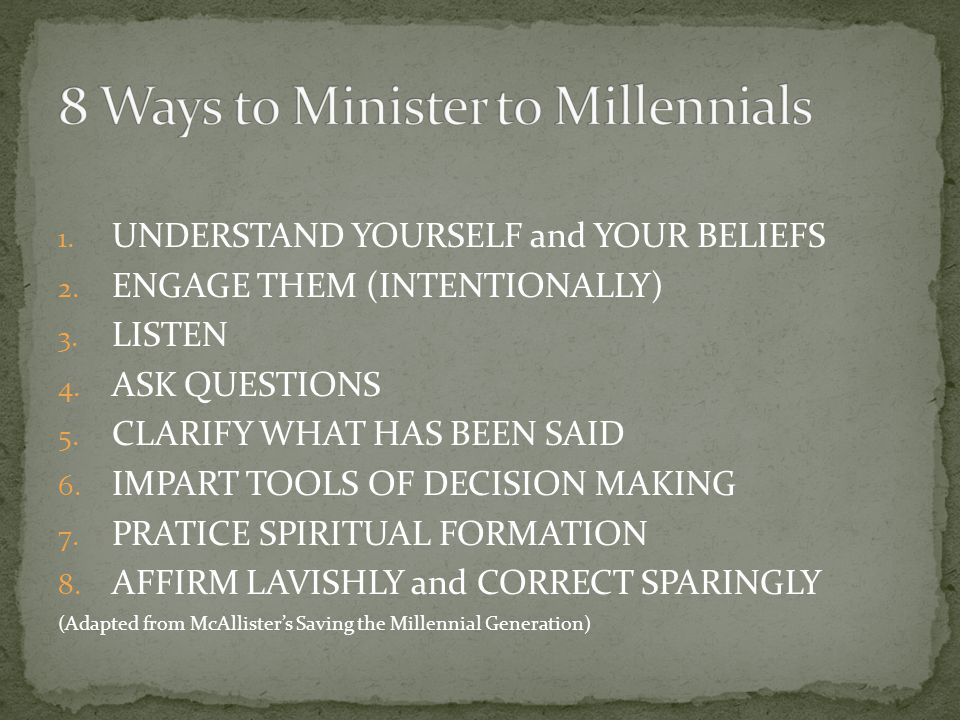 1. UNDERSTAND YOURSELF and YOUR BELIEFS 2. ENGAGE THEM (INTENTIONALLY) 3.