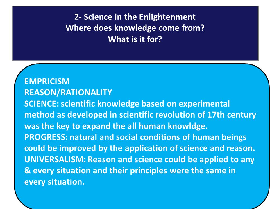 Space & Time 6 Science in the Enlightenment EMPRICISM REASON/RATIONALITY SCIENCE: scientific knowledge based on experimental method as developed in sc