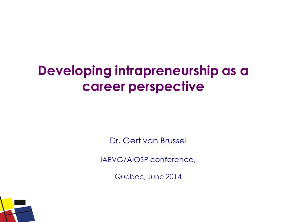 Developing intrapreneurship as a career perspective Dr. Gert van Brussel IAEVG/AIOSP conference, Quebec, June 2014