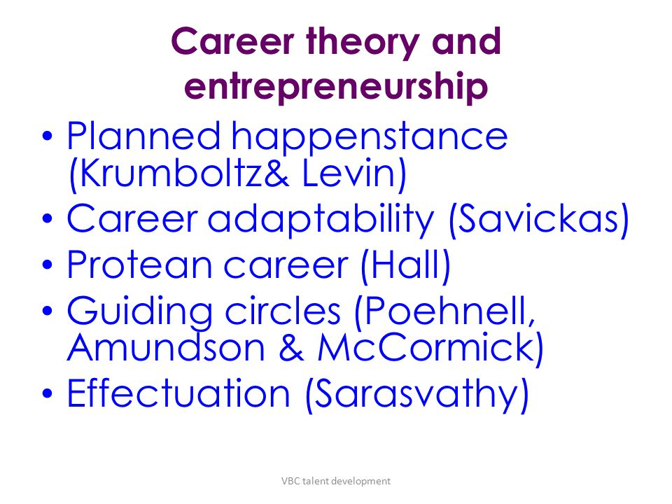 Career theory and entrepreneurship Planned happenstance (Krumboltz& Levin) Career adaptability (Savickas) Protean career (Hall) Guiding circles (Poehnell, Amundson & McCormick) Effectuation (Sarasvathy) VBC talent development