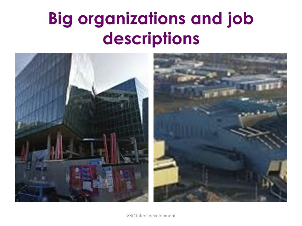 Big organizations and job descriptions VBC talent development