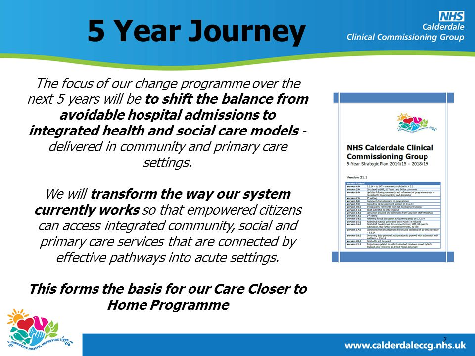 5 Year Journey The focus of our change programme over the next 5 years will be to shift the balance from avoidable hospital admissions to integrated health and social care models - delivered in community and primary care settings.