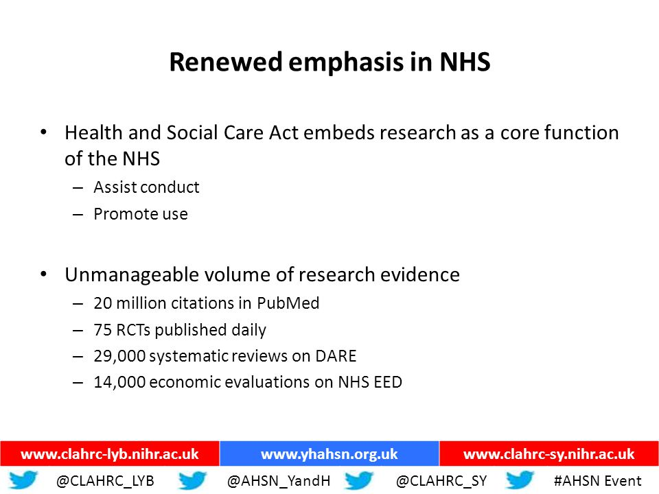 ww.yhahsn.org.uk Renewed emphasis in NHS Health and Social Care Act embeds research as a core function of the NHS – Assist conduct – Promote use Unmanageable volume of research evidence – 20 million citations in PubMed – 75 RCTs published daily – 29,000 systematic reviews on DARE – 14,000 economic evaluations on NHS EED www.clahrc-lyb.nihr.ac.ukwww.yhahsn.org.ukwww.clahrc-sy.nihr.ac.uk @CLAHRC_LYB@AHSN_YandH @CLAHRC_SY#AHSN Event