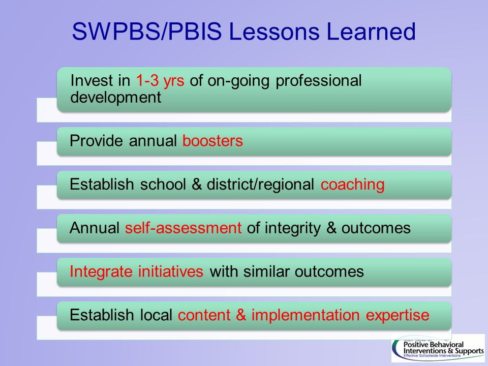 SWPBS/PBIS Lessons Learned