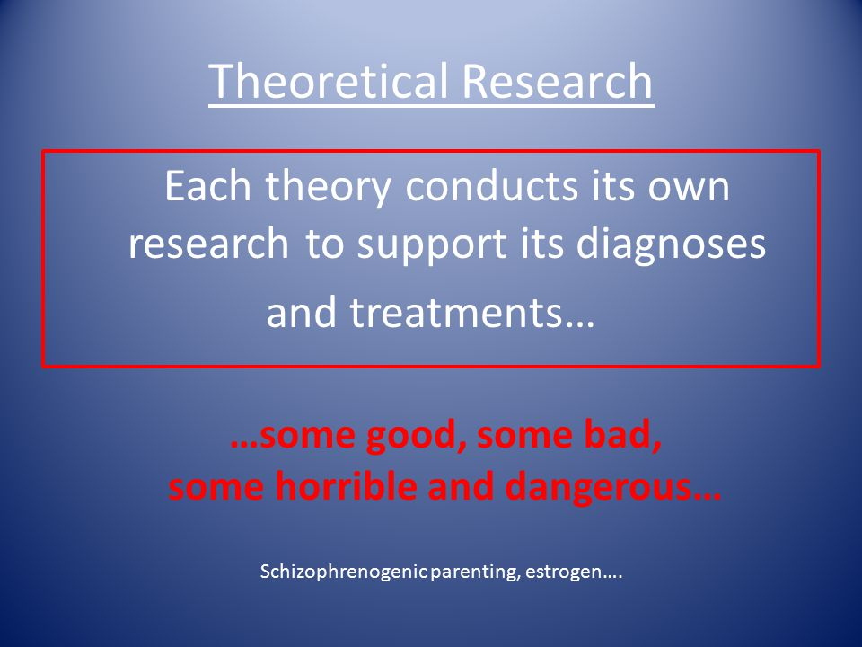 Theoretical Research Each theory conducts its own research to support its diagnoses and treatments… …some good, some bad, some horrible and dangerous… Schizophrenogenic parenting, estrogen….