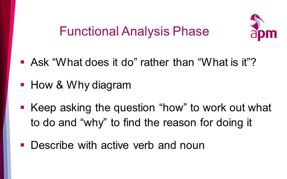 Functional Analysis Phase  Ask What does it do rather than What is it .